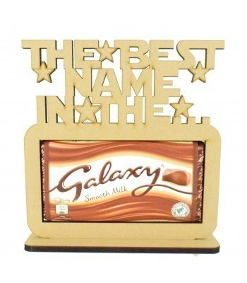 6mm Personalised 'The best... in the Galaxy' Galaxy Chocolate Bar Holder on a Stand